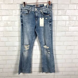 NWT Zara Distressed Flare Jeans